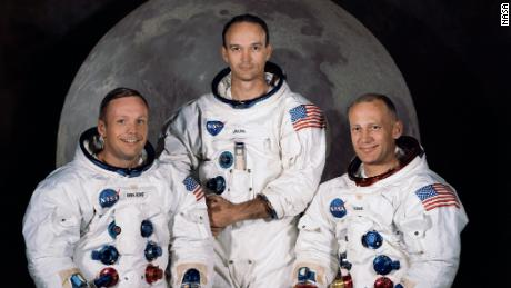 The official crew photo for Apollo 11. From left to right are astronauts Neil A. Armstrong, Commander; Michael Collins, Command Module Pilot; and Edwin E. Aldrin Jr., Lunar Module Pilot.