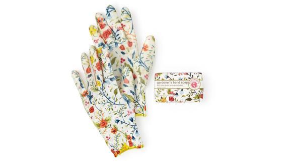 Floral-Printed Weeder Glove Spa Gift Set