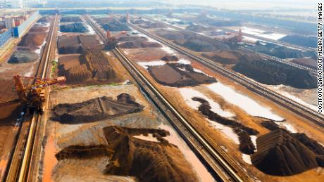 Iron ore imported from Australia and Brazil at an iron ore storage yard in Taicang Port, Jiangsu Province, China on December 9, 2020.