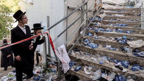 Ultra-Orthodox Jews beside stairs Friday on Mount Meron.