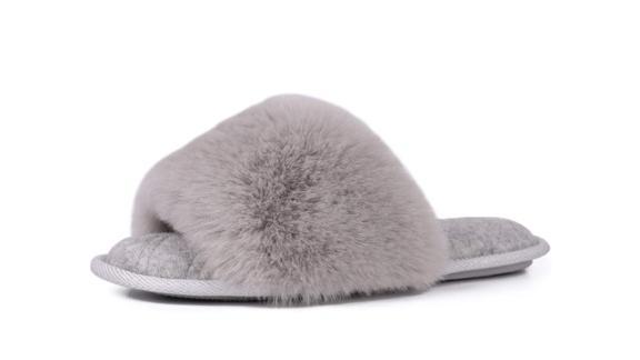 LongBay Fuzzy Faux Fur Memory Foam Slippers
