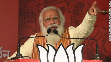 Prime Minister Narendra Modi at a rally on April 12, 2021, in North 24 Parganas, India.
