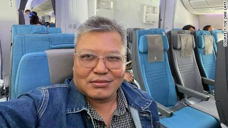 Toe Zaw Latt on a plane leaving Myanmar in April, 2021.