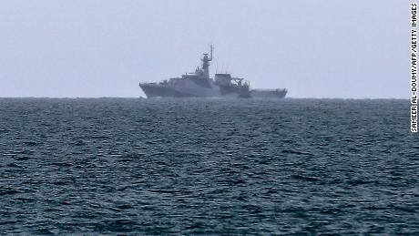 A British Royal Navy vessel patrols the waters off Jersey on May 6 to monitor the demonstration by French fishermen.