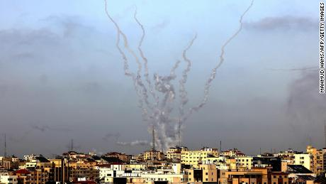 The IDF said dozens of rockets were fired at locations across southern and central Israel on Monday.