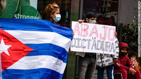 A protest in London expressing solidarity with Otero Alcántara.