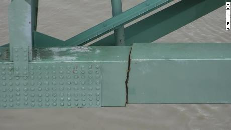 TDOT released photos of the crack that shut down the I-40 Hernando de Soto Bridge.