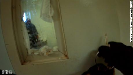 Jamal Sutherland is seen inside a cell at a detention center in North Charleston, South Carolina. The image was taken from a sheriff deputy's body camera footage.