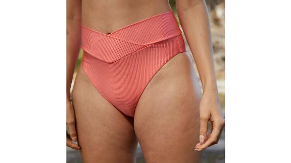 Aerie Ribbed Shine Crossover High-Cut Cheeky Bikini Bottom