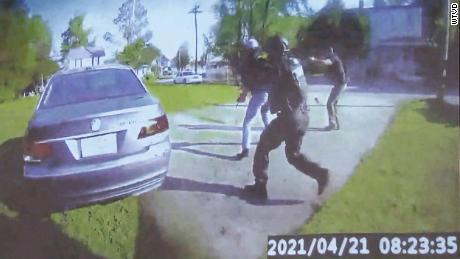 This still taken from bodycam footage shows police approaching the car in which Andrew Brown Jr. was killed.