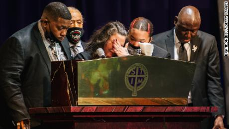 The family of Daunte Wright, the Rev. Al Sharpton and Crump give remarks during Daunte Wright's funeral at the Shiloh Temple International Ministries church on April 22, 2021 in Minneapolis.