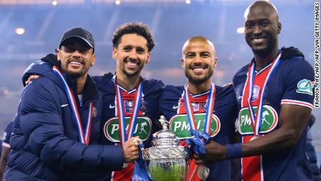 PSG celebrate the Coupe de France win.