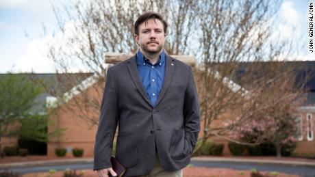 Ben Marsh is a pastor at First Alliance Church in Winston-Salem, North Carolina. He has seen members of his church share conspiracy theories on their social media pages. (John General/CNN)
