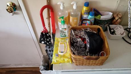 Kimberly LoRusso continues to keep an ample supply of hand sanitizer, masks and sanitizing wipes by her front door. She is fully vaccinated, but prefers to keep her mask on.