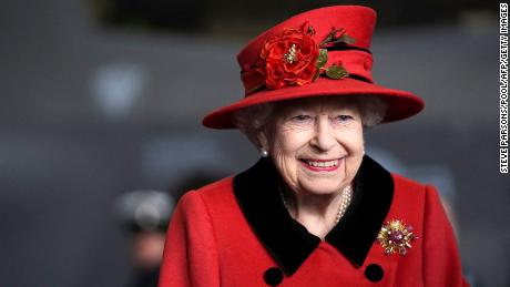 Britain's Queen Elizabeth II is seen during her visit to the aircraft carrier HMS Queen Elizabeth in Portsmouth, southern England on May 22, 2021.