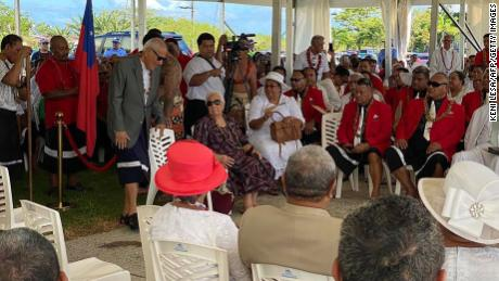 Samoa's Fiame Naomi Mata'afa waits with members of the judiciary parliament in Apia on May 24, 2021, after been locked out of the Pacific nation's Parliament.