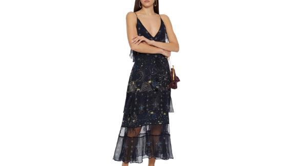 Camilla Tiered Georgette-getäfeltes Kleid aus verziertem Seiden-Crêpe de Chine