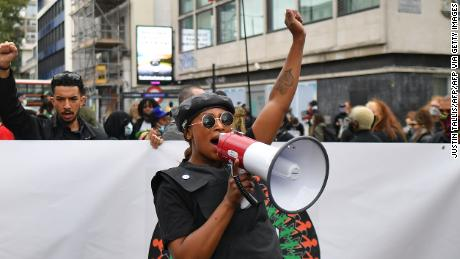 British Black Lives Matter activist Sasha Johnson demonstrates at the inaugural Million People March in London on August 30, 2020.