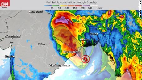 Forecast rainfall accumulation through Sunday