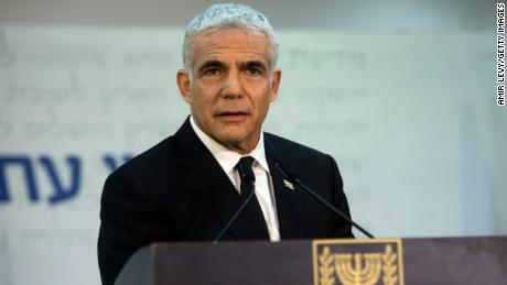 Yesh Atid Party leader Yair Lapid speaks at a news conference on May 6 in Tel Aviv, Israel.