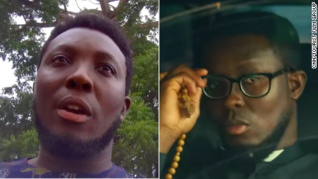 Left: Seth Wiredu, seen here in a frame from a hidden camera in March 2020, in Accra,Ghana. Right: Seth Wiredu in the film 'Tourist.'