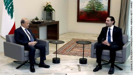 There is a rift between Prime Minister-designate Saad Hariri (right) and President Michel Aoun over forming a new government.