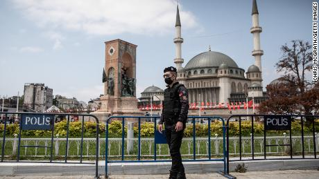 The controversial mosque is situated iacross Taksim Square from Gezi Park, the scene of massive anti-government protests in 2013.