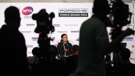 Osaka attends a press conference during the sixth day of the Porsche Tennis Grand Prix at the Porsche-Arena on April 27, 2019 in Stuttgart, Germany.