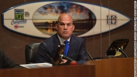 Mayor Pro Tem Tito Ortiz atttends the first in-person Huntington Beach City Council meeting of the year on Tuesday.