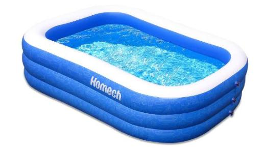 Homech Family Inflatable Swimming Pool, 120 Inches by 72 Inches by 22 Inches