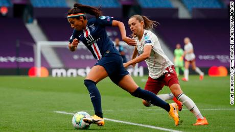 Nadia Nadim plays for PSG against Arsenal in the last Champions League.
