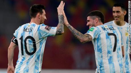 Leo Messi rejoices after scoring the leading goal against Chile.