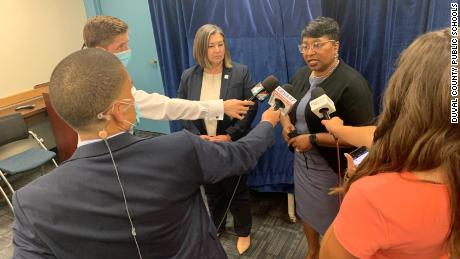 DCPS Superintendent Dr Diana Greene spoke to reporters after the school board approved the name changes.