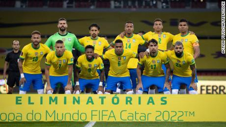 Brazil players pose for an official photo before the 2022 World Cup qualifier against Ecuador.