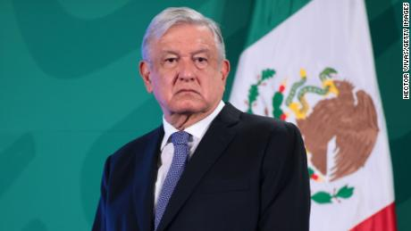 President López Obrador attends the daily briefing at Palacio Nacional on May 28, 2021 in Mexico City, Mexico.