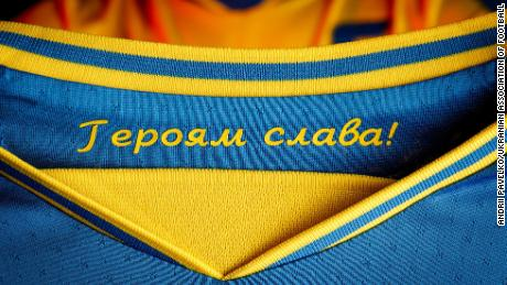 """The slogan """"Glory to the heroes""""  it is printed inside the collar."""