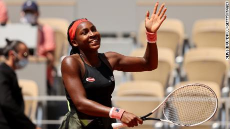 Gauff celebrates victory in the women's singles fourth round match against Ons Jabeur.