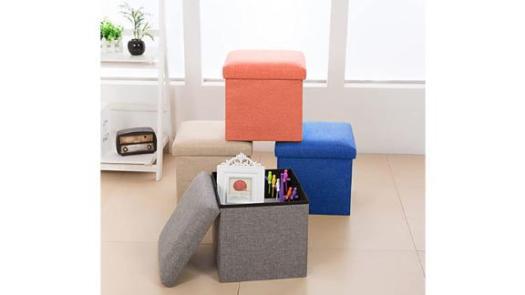 Linen Folding Storage Ottoman