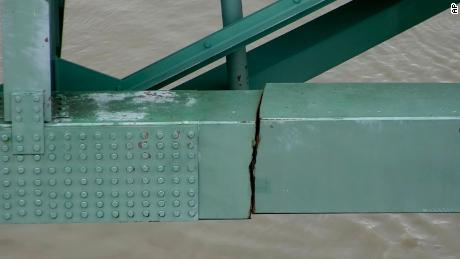This undated photo released by the Tennessee Department of Transportation shows a crack in a steel beam on the Interstate 40 bridge near Memphis.
