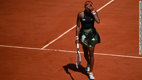 Gauff reacts during the quarter-final match of her women's singles against Krejcikova.