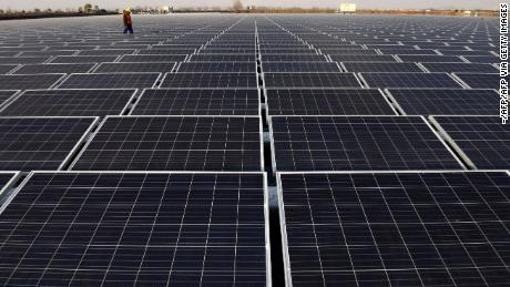 A view of a floating solar power plant in Huainan, a former coal-mining region,in China's eastern Anhui province.
