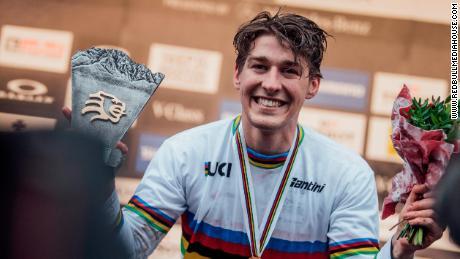 Wilson celebrates his downhill world title last October.