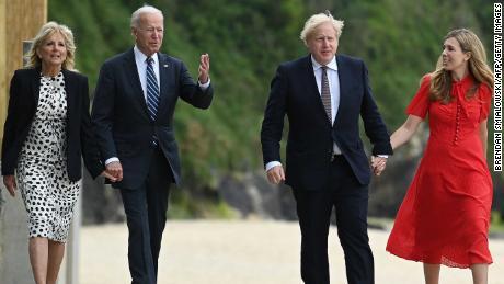 UK Prime Minister Boris Johnson (second right) and his wife Carrie Johnson (right) walk with US President Joe Biden and first lady Jill Biden ahead of a bilateral meeting at Carbis Bay, Cornwall.