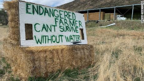 """A sign in Tulelake, California, that says """"Endangered farmer can't survive without water."""""""