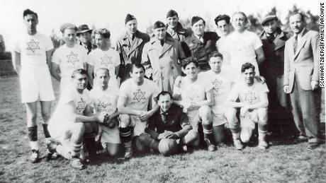A post-World War II displaced persons camp football team, in Berlin 1949.