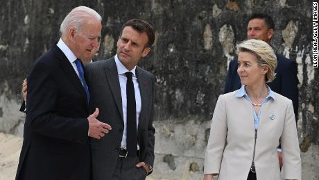 President Joe Biden, the President of France, Emmanuel Macron and the European Commission Ursula von der Leyen speak during the G7 summit on June 11, 2021.