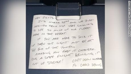 A Delta pilot's pre-pandemic message is found tucked away on a plane coming out of storage