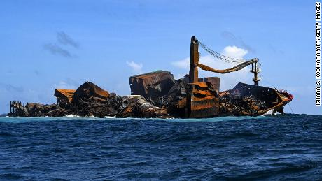 The Singapore-registered container ship MV X-Press Pearl carrying hundreds of tons of chemicals and plastics, sinks after burning for almost two weeks, just outside Colombo's harbor on June 2.