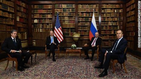 US Secretary of State Antony Blinken (L), US President Joe Biden (2nd L), Russian President Vladimir Putin (2n R) and Russian Foreign Minister Sergei Lavrov (R) pose for press ahead of the US-Russia summit at the Villa La Grange, in Geneva on June 16, 2021.