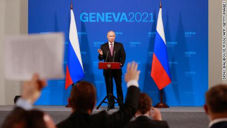 Russia's President Vladimir Putin holds a press conference after meeting with US President at the 'Villa la Grange' in Geneva on June 16, 2021.